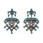 Stone work earring - Turquoise